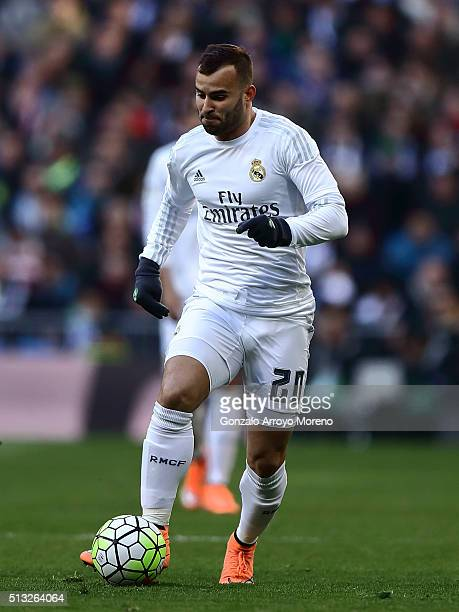 Jese Rodriguez of Real Madrid CF controls the ball during the La Liga match between Real Madrid CF and Club Atletico de Madrid at Estadio Santiago...