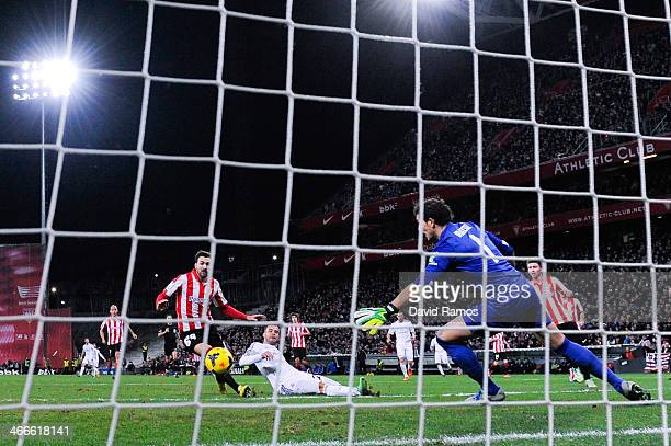 Jese Rodriguez of Real Madrid CF scores the opening goal during the La Liga match between Athletic Club and Real Madrid CF at San Mames Stadium on...
