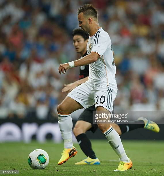 Jese Rodriguez of Real Madrid CF scores the team's fifth goal during the Santiago Bernabeu Trophy match between Real Madrid CF and AlSadd at Estadio...