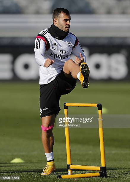 Jese Rodriguez of Real Madrid exercises during a training session at Valdebebas training ground on November 24 2014 in Madrid Spain