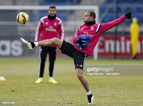 Jese Rodriguez of Real Madrid in action during a training session at Valdebebas training ground on February 12 2015 in Madrid Spain
