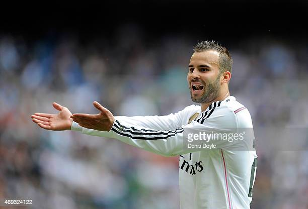 Jese Rodriguez of Real Madrid questions the linesman's call during the La Liga match between Real Madrid and Eibar at Estadio Santiago Bernabeu on...