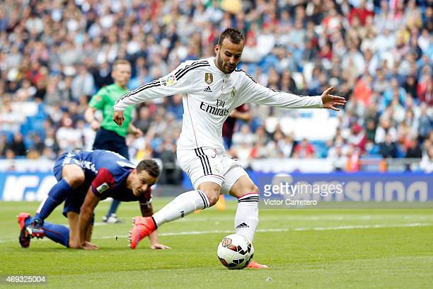 Jese Rodriguez of Real Madrid scores his team's third goal during the La Liga match between Real Madrid CF and Eibar at Estadio Santiago Bernabeu on...
