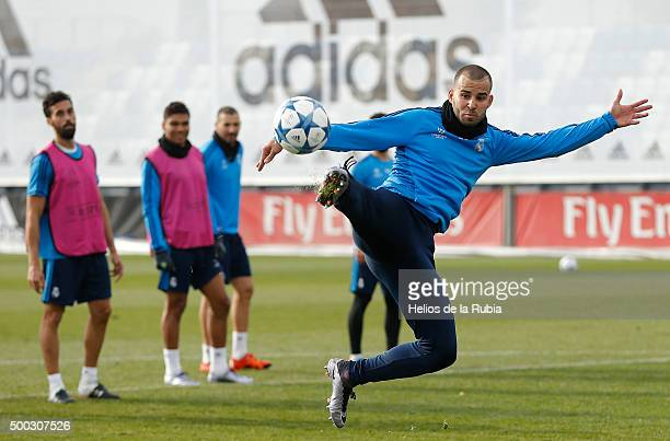 Jese Rodriguez of Real Madrid warms up during a training session at Valdebebas prior to the UEFA Champions League between Real Madrid and Malmö on...