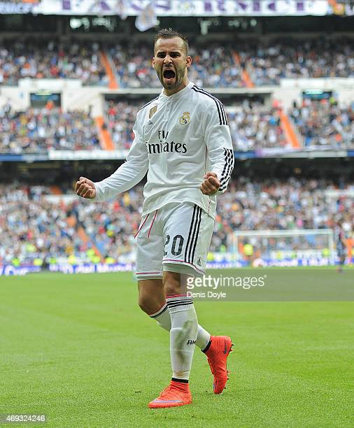 Jese Rodriguez of Real Madridof Real Madrid celebrates after scoring Real's 3rd goal from a free kick during the La Liga match between Real Madrid...