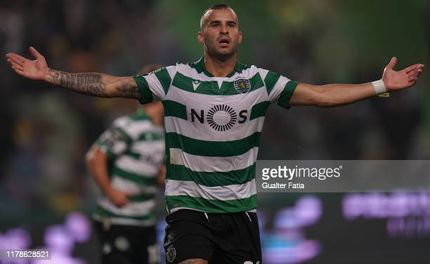Jese Rodriguez of Sporting CP celebrates after scoring a goal during the Liga NOS match between Sporting CP and Vitoria SC at Estadio Jose Alvalade...