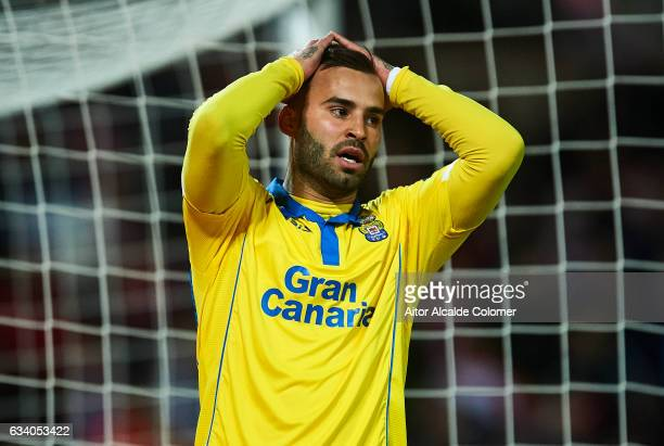 Jese Rodriguez of Union Deportiva Las Palmas reacts during the La Liga match between Granada CF vs UD Las Palmas at Estadio Nuevo Los Carmenes on...