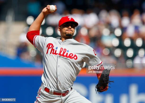 Jesen Therrien of the Philadelphia Phillies in action against the New York Mets at Citi Field on September 4 2017 in the Flushing neighborhood of the...