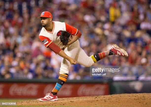 Jesen Therrien of the Philadelphia Phillies pitches against the Chicago Cubs at Citizens Bank Park on August 26 2017 in Philadelphia Pennsylvania The...