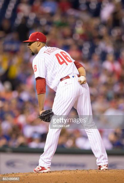 Jesen Therrien of the Philadelphia Phillies pitches against the New York Mets at Citizens Bank Park on August 11 2017 in Philadelphia Pennsylvania
