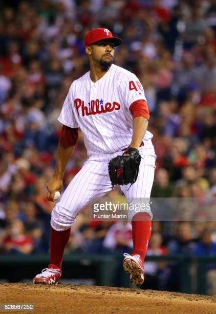 Jesen Therrien of the Philadelphia Phillies throws a pitch during a game against the Atlanta Braves at Citizens Bank Park on July 29 2017 in...