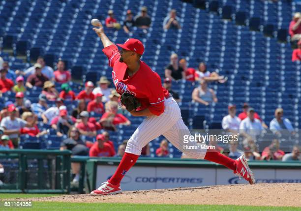 Jesen Therrien of the Philadelphia Phillies throws a pitch during a game against the Atlanta Braves at Citizens Bank Park on July 31 2017 in...