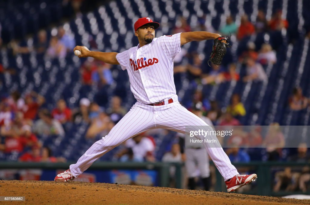Jesen Therrien #46 of the Philadelphia Phillies throws a pitch in the seventh inning during game two of a doubleheader against the Miami Marlins at Citizens Bank Park on August 22, 2017 in Philadelphia, Pennsylvania. The Marlins won 7-4.