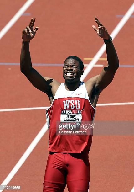 Jeshua Anderson celebrates after winning the Men's 400 meter hurdles final on day four of the USA Outdoor Track Field Championships at the Hayward...
