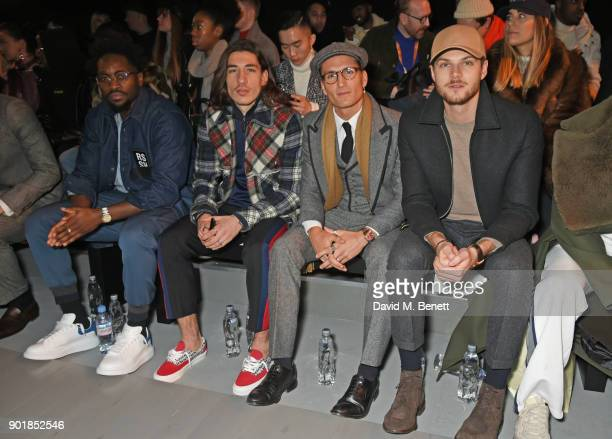 Jesiah Sampson Hector Bellerin Ollie Proudlock and Jim Chapman sit in the front row at the Oliver Spencer LFWM AW18 Catwalk Show at the BFC Show...