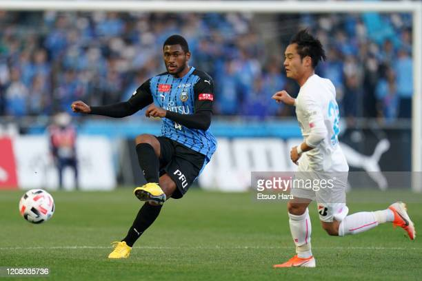 Jesiel of Kawasaki Frontale in action during the JLeague MEIJI YASUDA J1 match between Kawasaki Frontale and Sagan Tosu at Todoroki Stadium on...