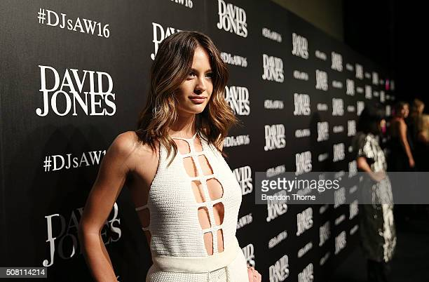 Jesinta Campbell arrives ahead of the David Jones Autumn/Winter 2016 Fashion Launch at David Jones Elizabeth Street Store on February 3 2016 in...