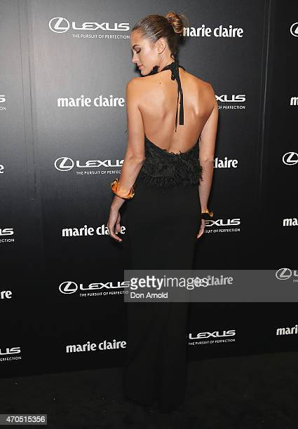 Jesinta Campbell arrives at the 2015 Prix de Marie Claire Awards at Fox Studios on April 21 2015 in Sydney Australia