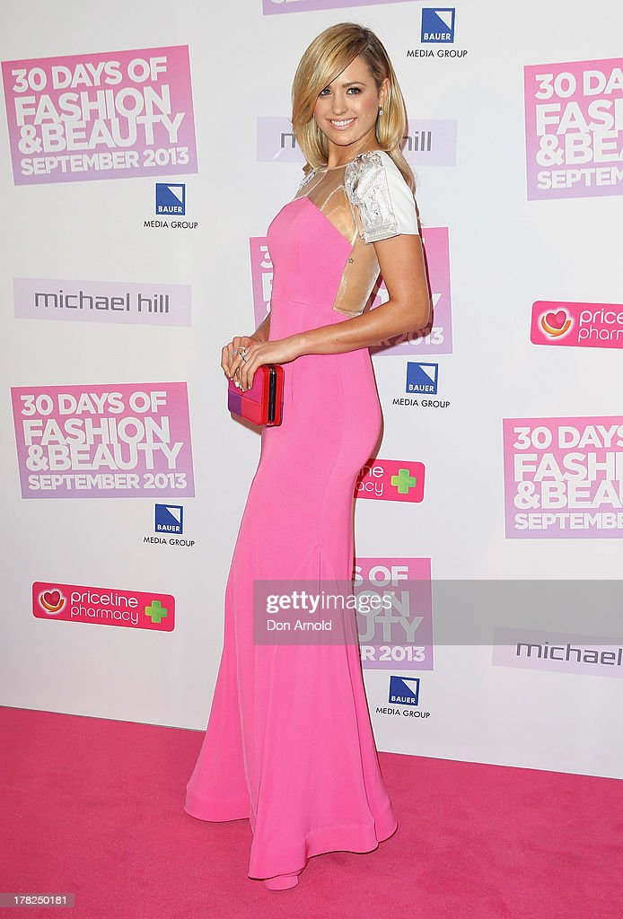 Jesinta Campbell arrives at the 30 Days of Fashion and Beauty launch party at Town Hall on August 28, 2013 in Sydney, Australia.