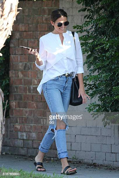 Jesinta Campbell enjoys a manipedis on April 1 2016 in Sydney Australia