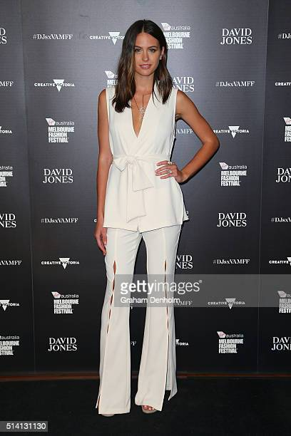 Jesinta Campbell poses as she arrives for the David Jones opening event as part of Virgin Australia Melbourne Fashion Festival on March 7 2016 in...
