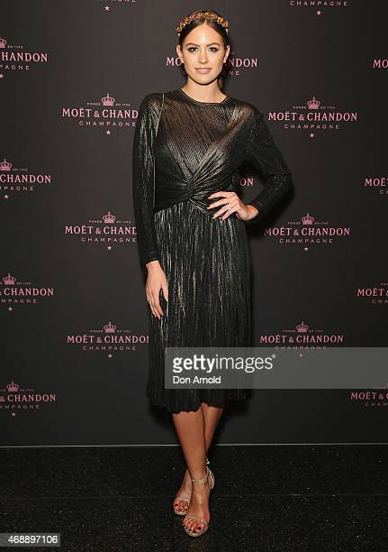 Jesinta Campbell poses at the Moet Chandon Grand Vintage Rose 2006 launch at the Roslyn Packer Theatre on April 8 2015 in Sydney Australia
