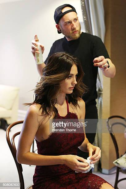 Jesinta Campbell prepares backstage ahead of the David Jones Autumn/Winter 2016 Fashion Launch at David Jones Elizabeth Street Store on February 3...