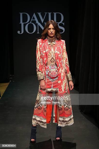 Jesinta Campbell showcases designs by Camilla during rehearsal ahead of the David Jones Autumn/Winter 2016 Fashion Launch at David Jones Elizabeth...