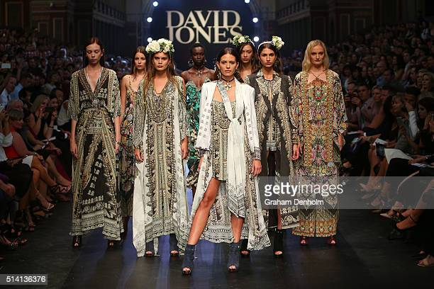 Jesinta Campbell showcases designs by Camilla on the runway during the David Jones opening event as part of Virgin Australia Melbourne Fashion...