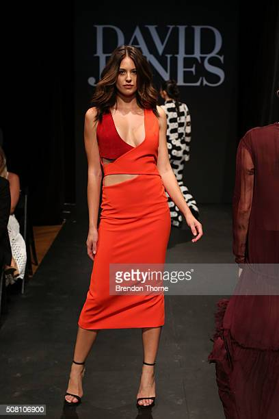 Jesinta Campbell showcases designs by Dion Lee during rehearsal ahead of the David Jones Autumn/Winter 2016 Fashion Launch at David Jones Elizabeth...