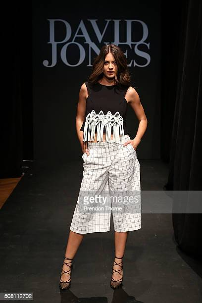 Jesinta Campbell showcases designs by Tibi during rehearsal ahead of the David Jones Autumn/Winter 2016 Fashion Launch at David Jones Elizabeth...