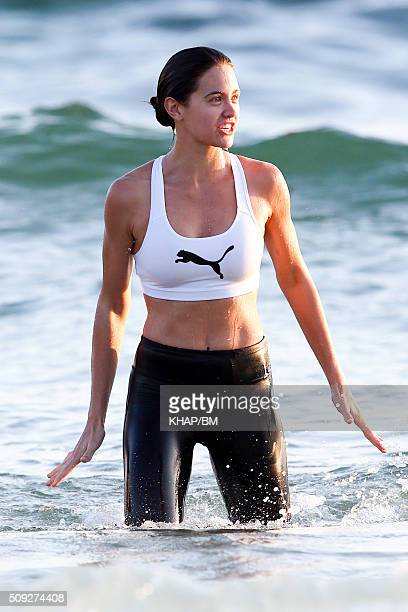 Jesinta Campbell takes a swim after a workout at Bondi Beach on February 9 2016 in Sydney Australia