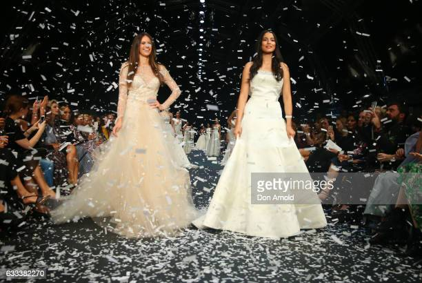 Jesinta Franklin and Jessica Gomes showcase designs by Monique Ihullier on the runway at the David Jones Autumn Winter 2017 Collections Launch at St...
