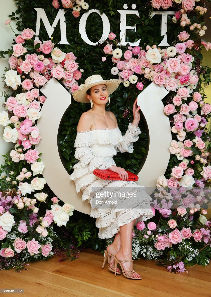 Jesinta Franklin attends Moet & Chandon Spring Champion Stakes Day at Royal Randwick Racecourse on October 7, 2017 in Sydney, Australia.