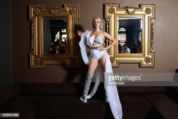 Jesinta Franklin poses at the Beauchamp Hotel just prior to the 2018 Sydney Gay Lesbian Mardi Gras Parade on March 3 2018 in Sydney Australia The...