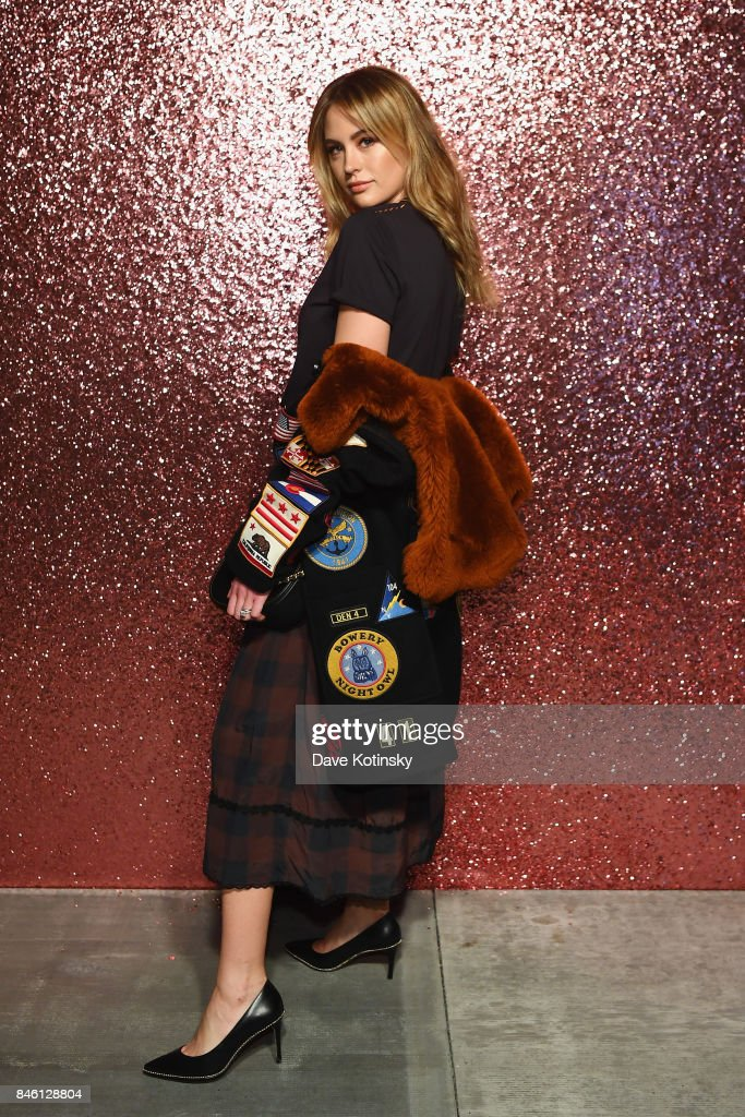 Jesinta Franklin poses for a portrait during Coach Spring 2018 Fashion Show during New York Fashion Week at Basketball City - Pier 36 - South Street on September 12, 2017 in New York City.