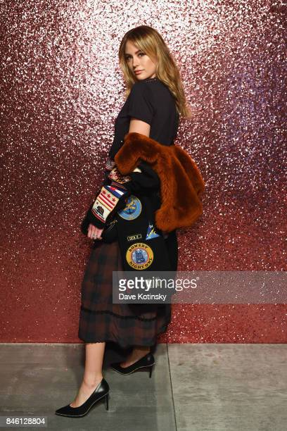 Jesinta Franklin poses for a portrait during Coach Spring 2018 Fashion Show during New York Fashion Week at Basketball City Pier 36 South Street on...