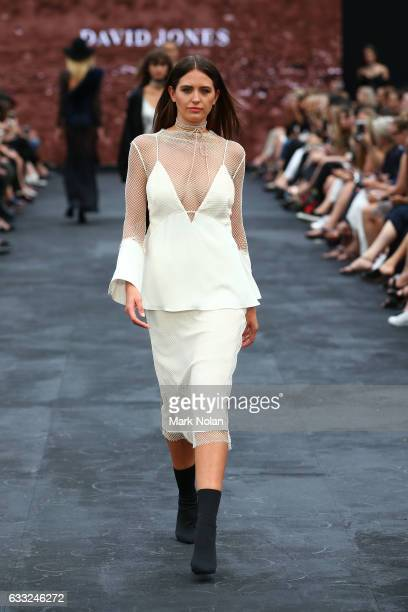 Jesinta Franklin showcases designs by Christopher Esber during rehearsal ahead of the David Jones Autumn/Winter 2016 Fashion Launch at St Mary's...