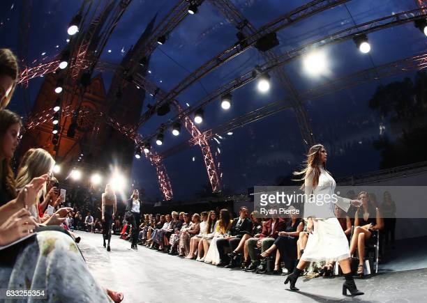 Jesinta Franklin showcases designs by Christopher Esber on the runway at the David Jones Autumn Winter 2017 Collections Launch at St Mary's Cathedral...