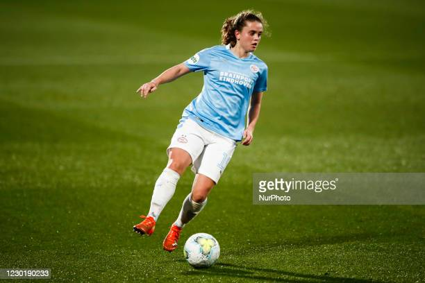 Jeslynn Kuijpers of PSV during the UEFA Champions League Women match between PSV v FC Barcelona at the Johan Cruyff Stadium on December 16, 2020 in...