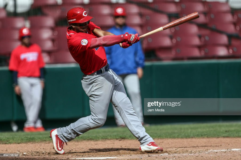 Jesmuel Valentin of Puerto Rico hits the ball during a game between Puerto Rico and Venezuela as part of the Baseball Caribbean Series Culiacan 2017 at Tomateros Stadium on February 06, 2017 in Culiacan, Mexico.