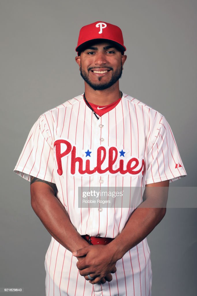 Jesmuel Valentin #76 of the Philadelphia Phillies poses during Photo Day on Tuesday, February 20, 2018 at Spectrum Field in Clearwater, Florida.