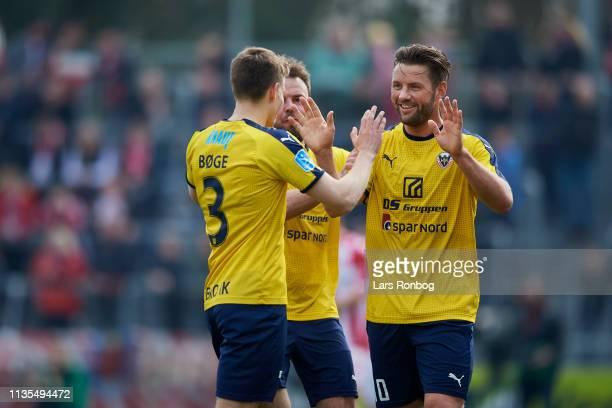 Jesper Boge and Pal Alexander Kirkevold of Hobro IK celebrate after scoring their first goal during the Danish Superliga match between Hobro IK and...