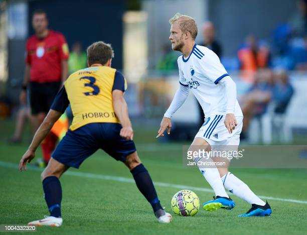 Jesper Boge of Hobro IK and Nicolai Boilesen of FC Copenhagen in action during the Danish Superliga match between Hobro IK and FC Copenhagen at DS...