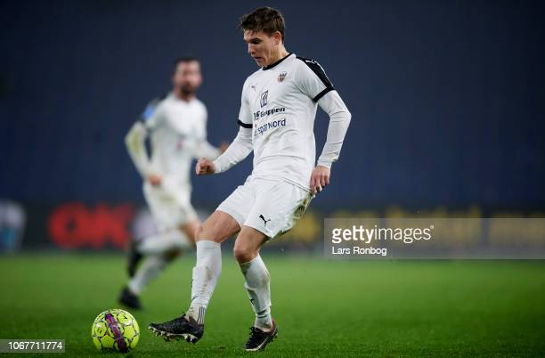 Jesper Boge of Hobro IK controls the ball during the Danish Superliga match between Brondby IF and Hobro IK at Brondby Stadion on December 2 2018 in...