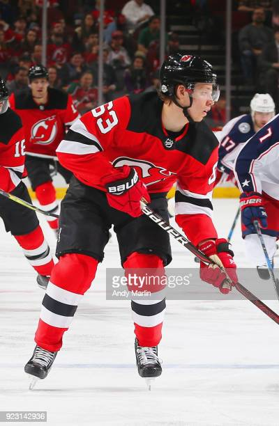 Jesper Bratt of the New Jersey Devils skates against the Columbus Blue Jackets during the game at Prudential Center on February 20 2018 in Newark New...