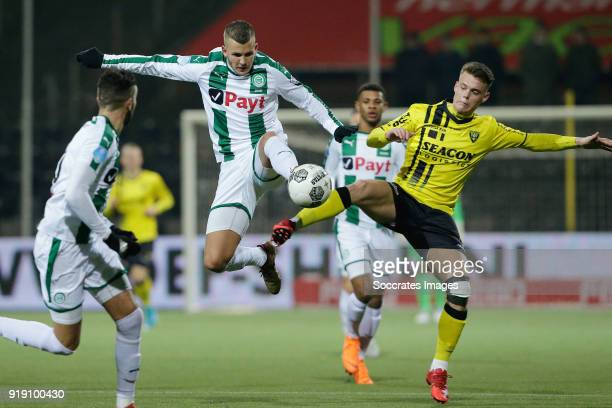 Jesper Drost of FC Groningen Vito van Crooij of VVV Venlo during the Dutch Eredivisie match between VVVvVenlo FC Groningen at the Seacon Stadium De...