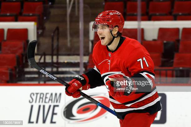Jesper Fast of the Carolina Hurricanes celebrates following a goal scored during the first period of their game against the Tampa Bay Lightning at...