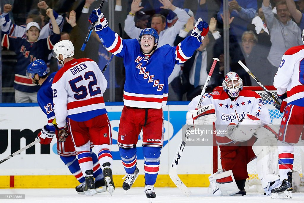Jesper Fast #19 of the New York Rangers celebrates his goal at 15:28 in the third quater against the Washington Capitals in Game One of the Eastern Conference Semifinals during the 2015 NHL Stanley Cup Playoffs at Madison Square Garden on April 30, 2015 in New York City. Capitals defeated the Rangers 2-1.