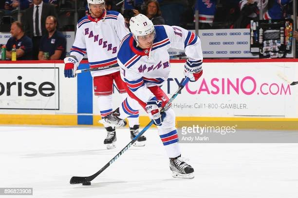 Jesper Fast of the New York Rangers warms up prior to the game against the New Jersey Devils at Prudential Center on December 21 2017 in Newark New...